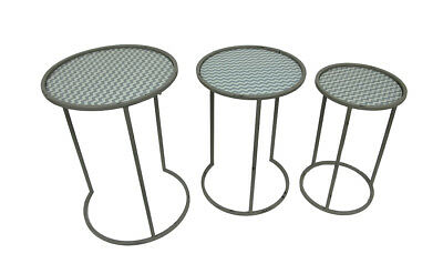 Green and Gray Chevron Stripe Round Glass and Metal Nesting Tables Set of 3