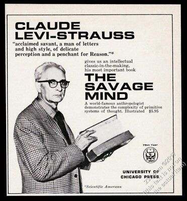 1967 Claude Levi Strauss photo The Savage Mind book release vintage print ad