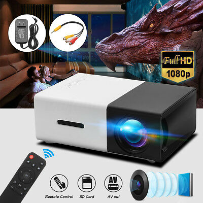 AU HD 1080P Mini Portable Handheld LED Projector Home Cinema Theater USB/SD/HDMI