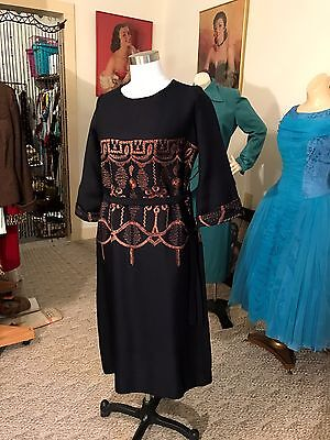 Antique Vtg. Early 30's Hollywood Starlet Inspired Embroidered Dress