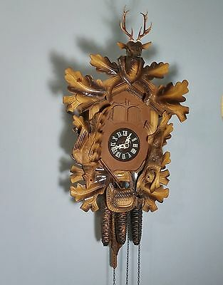 Black Forest Cuckoo Clock Germany w Thorens Swiss Musical Movement Deer Rabbit