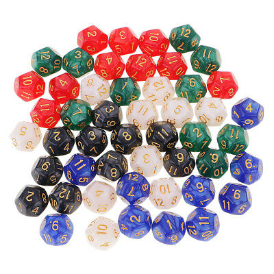 50pcs 16mm D12 Dice 12 Sided Die Polyhedral&Dice Carry Bag for Board Games