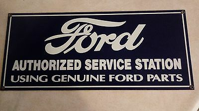 Vintage 1980's Ford Authorized Service Station~Andy Rooney Porcelain Sign