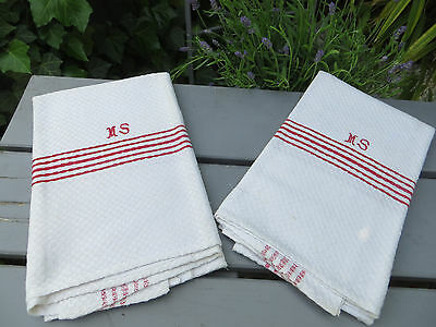 Set Of Two ( 2 )  Towels Runners  Huck Linen Red Stripes Monogram MS Upholstery