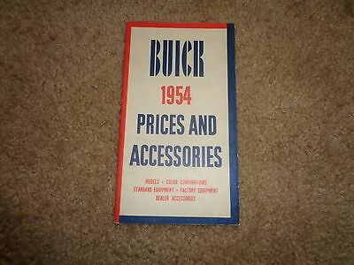 1954 Buick Prices and Accessories BOOKLET