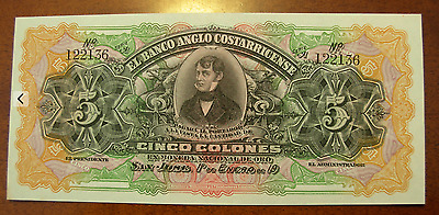 Costa Rica ND 1903-17 5 Colones Banco Anglo Costarricense Note P S122 UNC