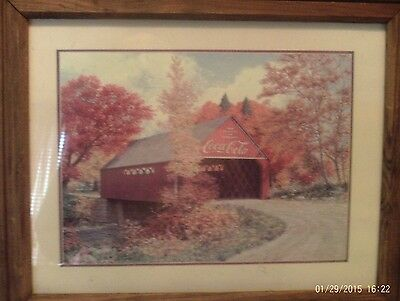 Coca Cola Framed Picture Of Covered Bridge