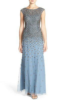 ADRIANNA PAPELL CAP SLEEVE EMBELLISHED MESH MERMAID DUSTY BLUE GOWN sz 8