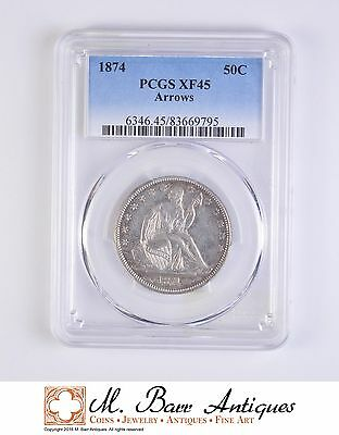 XF45 1874 Seated Liberty Half Dollar - Arrows - Graded PCGS *072