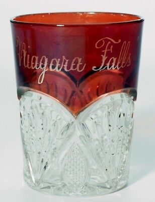 EAPG Heisey No 1255 Pineapple & Fan - Ruby Stained Tumbler