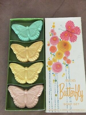 New old Stock NoS Vintage Avon Butterfly Soap Set & Org Box Gues Soaps / Sachets