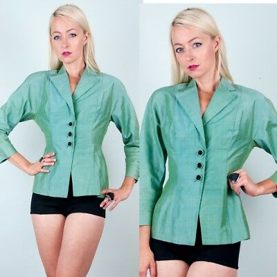 IRIDESCENT Vtg 50s GREEN RAW SILK Hourglass BLAZER/JACKET+Braided Black XS/S