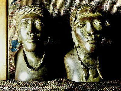 2 vintage' wood HEAD carvings