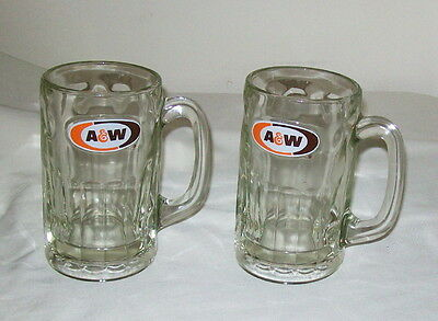 2 A&W A & W 15 oz. Glass Root Beer Mugs - 5.75 Inch - 1968