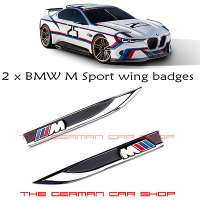 BMW M SPORT WING LOGO BLADE BADGES FOR 1 2 3 4 5 6 7 X SERIES (1x PAIR)