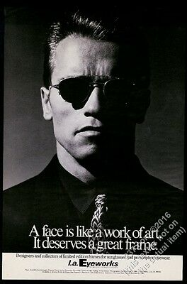 1976 Arnold Schwarzenegger photo L.A. Eyeworks sunglasses BIG vintage print ad