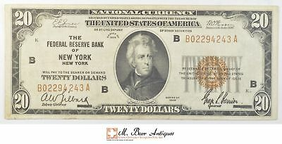 1929 $20.00 Brown Seal Federal Reserve Bank Of New York National Currency *790