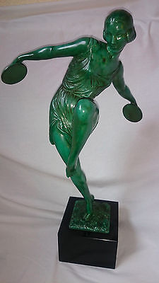 French Art Deco MONUMENTAL Fayral Nude Lady Dancing Signed Figure