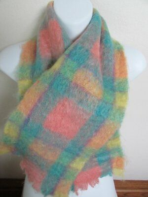 Vintage Mohair & Wool Plaid Scarf Soft Colors Made In Scotland