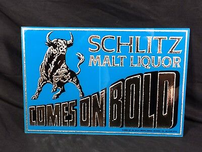 Schlitz Beer Sign Reverse Glass 1971 Milwaukee Bar Pub