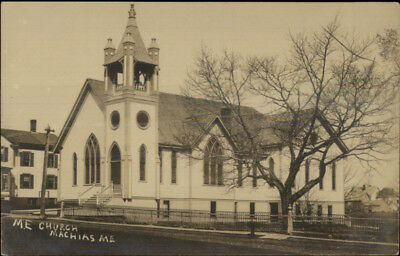 Machias ME ME Church c1910 Real Photo Postcard