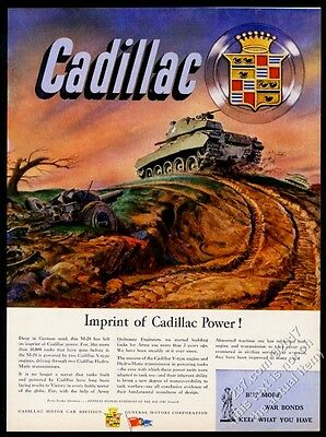 1945 Cadillac US Army M-24 tank WWII muddy road color art vintage print ad