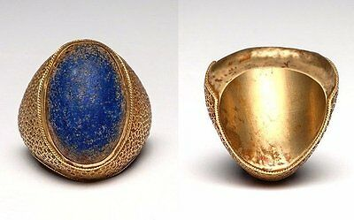Islamic Lapis Cabochon in Gold Finger Ring.