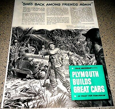 1944 WW II PLYMOUTH Shot up, Japanese Rising Sun, US Army New Guinea WWII WW2 AD
