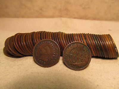 50 pcs.FULL ROLL INDIAN HEAD CENTS 1800'S - 1900'S ( 24 ) DIFFERENT DATES