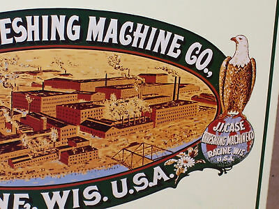CASE FACTORY Sign - Early Birdseye View of RACINE, WI. - Old Tin Sign DATED 1992