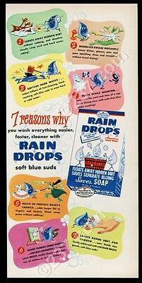1947 Rain Drops soap detergent additive cute illustrations vintage print ad