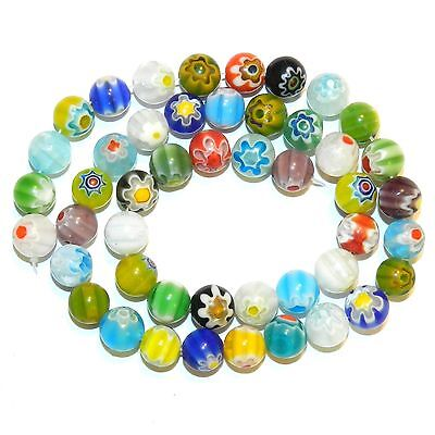 """G4247L2 Assorted Color Single Flower Millefiori 7mm Round Glass Beads 13"""""""