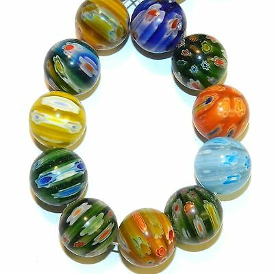 """G4253L2 Assorted Color Multi-Flower Millefiori 15mm Round Glass Beads 13"""""""