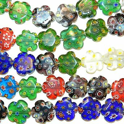 """G4318L2 Assorted Color 16mm Flat Flower Shaped Millefiori Glass Beads 14"""""""