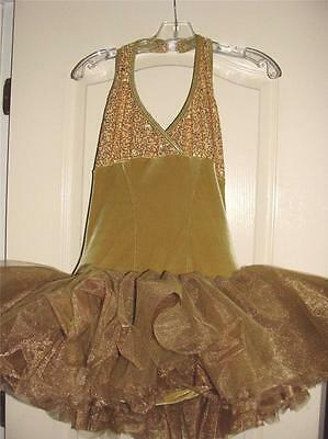 Beautiful Gold Velour Sequins Curtain Call Costumes Tutu Sz Large~Free Us Ship