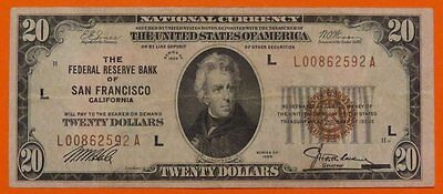 """1929 $20 """"L"""" SAN FRANCISCO National Currency Bank Note Brown Seal VF Cond."""
