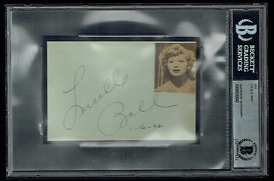 Lucille Ball (d. 1989) signed autograph auto 3.5x5 cut I Love Lucy BAS Slabbed