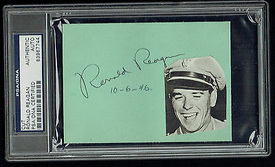 Ronald Reagan signed autograph auto 3x4.5 cut 40th President of the USA PSA Slab