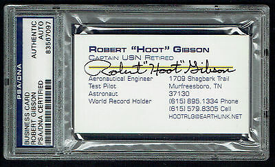 "Robert ""Hoot"" Gibson signed autograph auto Astronaut Business Card PSA Slabbed"