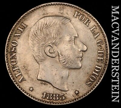 Philippines (Spanish): 1885 Fifty Centavos - Scarce!!  No Reserve!!  #v1116