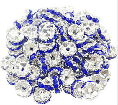 Free Ship 50Pcs Silver Plated Blue Acrylic Loose Spacer Beads 8mm
