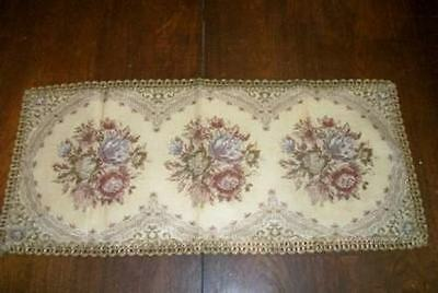 Germany Vintage Tapestry Roses Metallic Lace Runner Rare Paris Apt Chic Shabby