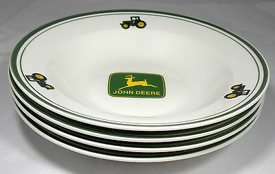 """4 John Deere Tractor 9"""" Large Rim Soup Bowls Gibson Very Good Condition"""