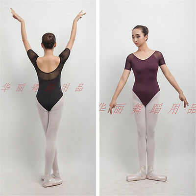 New adult lady girl ballet dance mesh cap-sleeved leotard  - C019 C020