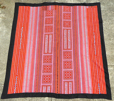 "DoubleSz Handmade BED COVER BLANKET Vietnam HMONG Hill Tribe Embroidered 84""x78"""
