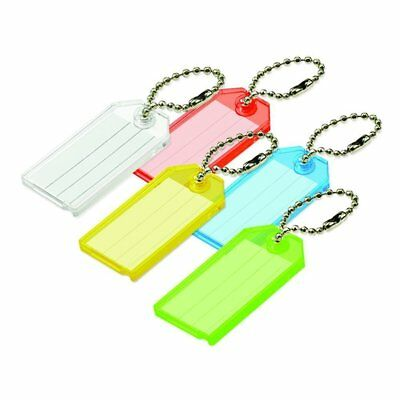 Lucky Line Key Tag with Ball Chain, Pack of 50, Assorted Colors 10175
