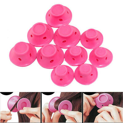 20pc Silicone Hair Curler Magic Hair Care Rollers No Heat Hair Styling Tool Pink