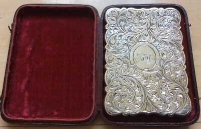 Boxed Antique Solid Sterling Silver Visiting Card Case, Dones Birm. 1855