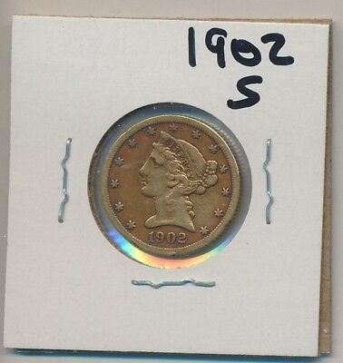 U.s. Gold - $5.00 Liberty - 1902-S - Genuine, Of Course !