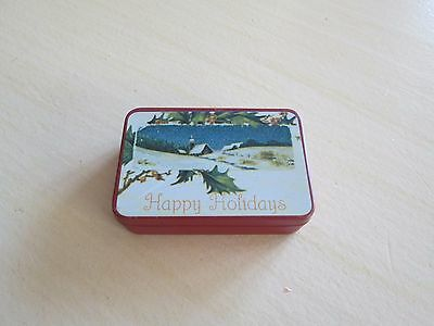 Vintage Tiny Miniature Metal Tin Happy Holidays Winter Scene